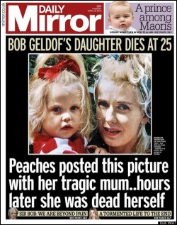 Upon Peaches Geldof Death, the UK's Mirror immediately speculated suicide.